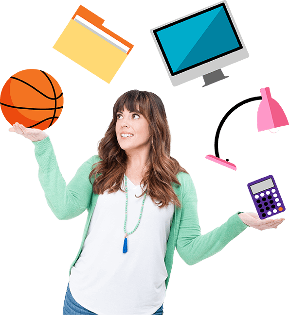 erin morper juggling a basketball, file folder, computer monitor, desk lamp, and calculator